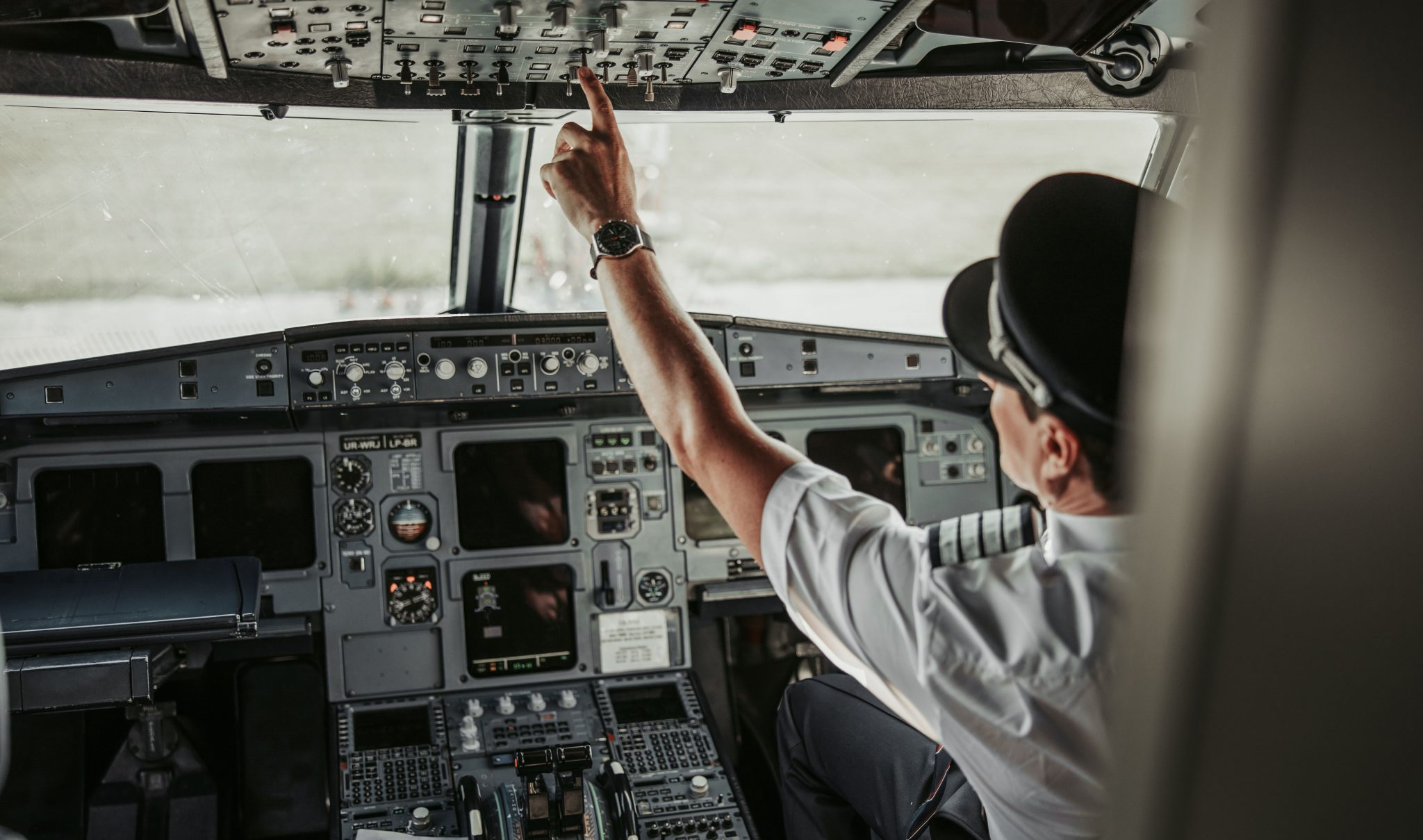 Pilot Taking Off in Jet Aircraft